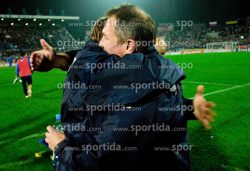 Head coach of Slovenia Matjaz Kek celebrates at  the 2010 FIFA World Cup South Africa Qualifying match between Slovakia and Slovenia, on October 10, 2009, Tehelne Pole Stadium, Bratislava, Slovakia. Slovenia won 2:0. (Photo by Vid Ponikvar / Sportida)