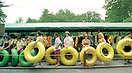 People await a bus to drive them to the drop off site at Bucks County River Country along the Delaware River in Tinicum, Pennsylvania. (Photo by William Thomas Cain/Cain Images)
