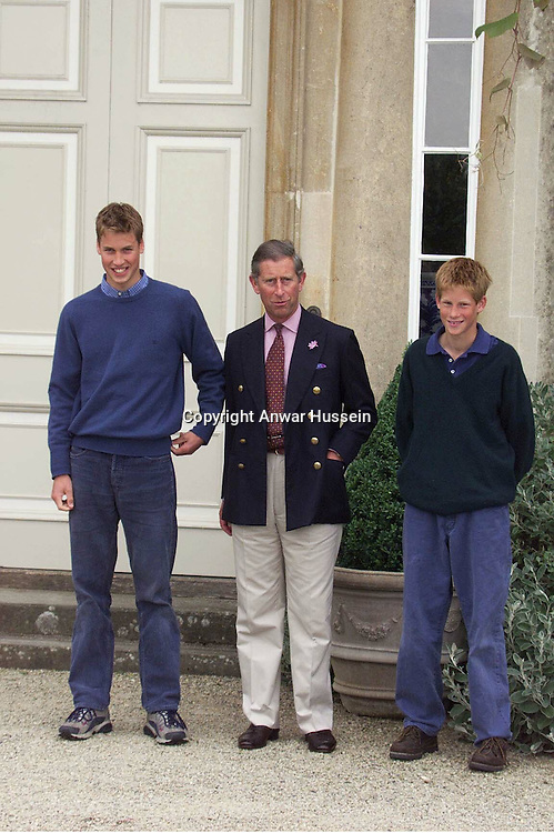 The Prince of Wales with Princes William and Harry pose for photographers at Highgrove in July 1999..