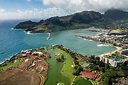 Aerial view of Nawiliwili Bay & Harbor in Lihue, on island of Kauai, Hawaii, USA.