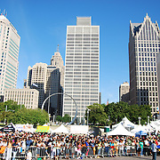On Labor Day, September 1, 2008, Barack Obama had a Rally in Hart Plaza in downtown Detroit, MI.