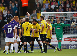 Referee Bull sends off Burton Albion's Ian Sharps  - Photo mandatory by-line: Matt Bunn/JMP - Tel: Mobile: 07966 386802 07/09/2013 - SPORT - FOOTBALL -  Pirelli Stadium - Burton upon Trent - Burton Albion V Oxford United - Sky Bet League Two