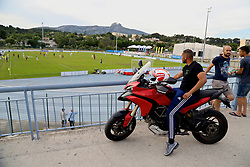 AUBAGNE, FRANCE - Monday, May 29, 2017: A motor-cyclist stops to watch England take on Angola during the Toulon Tournament Group A match between England U18 and Angola U20 at the Stade de Lattre-de-Tassigny. (Pic by David Rawcliffe/Propaganda)