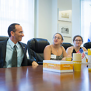 Consul General of Israel to New England Yehuda Yaakov meets with a group of pro-Israel activists who were surrounded and assaulted at a pro-Palestinian rally the previous week. The Consul General spoke with the activists at the Israeli Consulate on July 15, 2014 in Boston, Massachusetts. (Photo by Elan Kawesch/The Times of Israel)