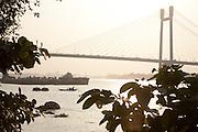The Vidyasagar Setu suspension bridge over the Hooghly river in Kolkata, West Bengal, India