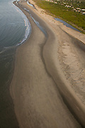 Aerial view of sandbars along the beach on Sullivan's Island in Charleston, SC