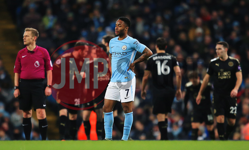 Raheem Sterling of Manchester City reacts as Jamie Vardy celebrates after the equalising goal - Mandatory by-line: Matt McNulty/JMP - 10/02/2018 - FOOTBALL - Etihad Stadium - Manchester, England - Manchester City v Leicester City - Premier League