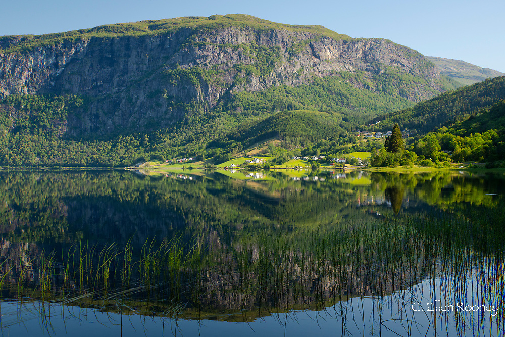 Reflections on Lake Granvinvatnet, Hordaland, Norway, Europe