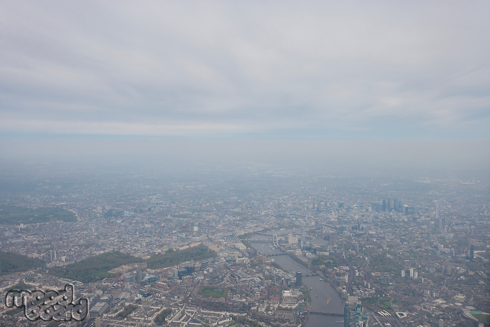 View of cityscape and River Thames; London; UK
