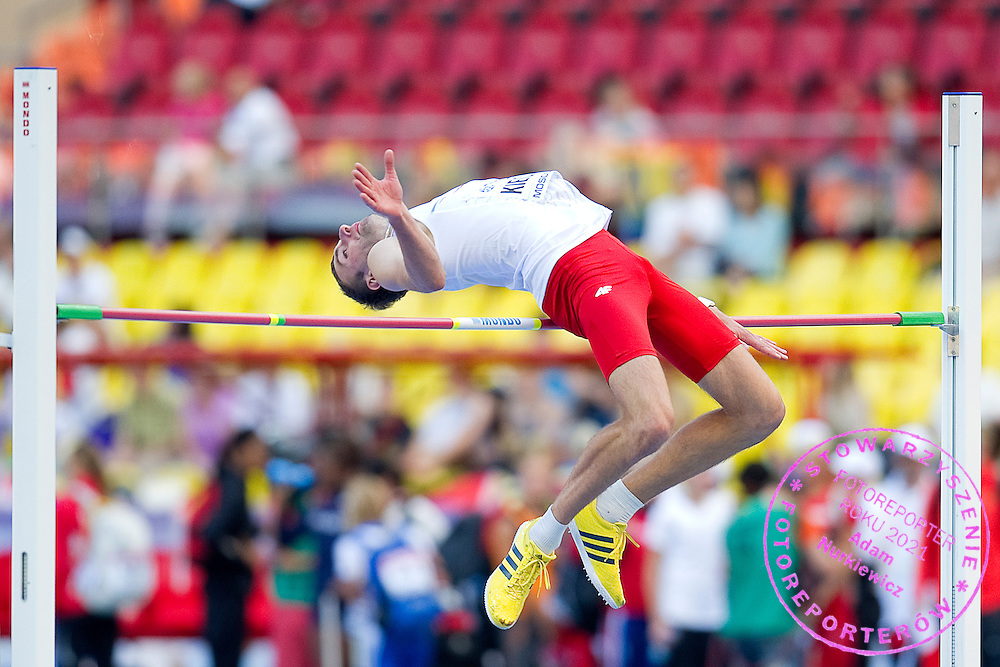 Szymon Kiecana from Poland competes in men's high jump qualification during the 14th IAAF World Athletics Championships at the Luzhniki stadium in Moscow on August 13, 2013.<br /> <br /> Russian Federation, Moscow, August 13, 2013<br /> <br /> Picture also available in RAW (NEF) or TIFF format on special request.<br /> <br /> For editorial use only. Any commercial or promotional use requires permission.<br /> <br /> Mandatory credit:<br /> Photo by © Adam Nurkiewicz / Mediasport