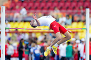 Szymon Kiecana from Poland competes in men's high jump qualification during the 14th IAAF World Athletics Championships at the Luzhniki stadium in Moscow on August 13, 2013.<br /> <br /> Russian Federation, Moscow, August 13, 2013<br /> <br /> Picture also available in RAW (NEF) or TIFF format on special request.<br /> <br /> For editorial use only. Any commercial or promotional use requires permission.<br /> <br /> Mandatory credit:<br /> Photo by &copy; Adam Nurkiewicz / Mediasport