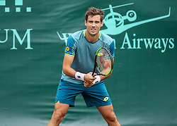 April 13, 2018 - Houston, TX, U.S. - HOUSTON, TX - APRIL 13:  Guido Pella of Argentina waits for the serve by Tennys Sandgren of the United States during the Quarterfinal round of the Men's Clay Court Championship on April 13, 2018 at River Oaks Country Club in Houston, Texas.  (Photo by Leslie Plaza Johnson/Icon Sportswire) (Credit Image: © Leslie Plaza Johnson/Icon SMI via ZUMA Press)