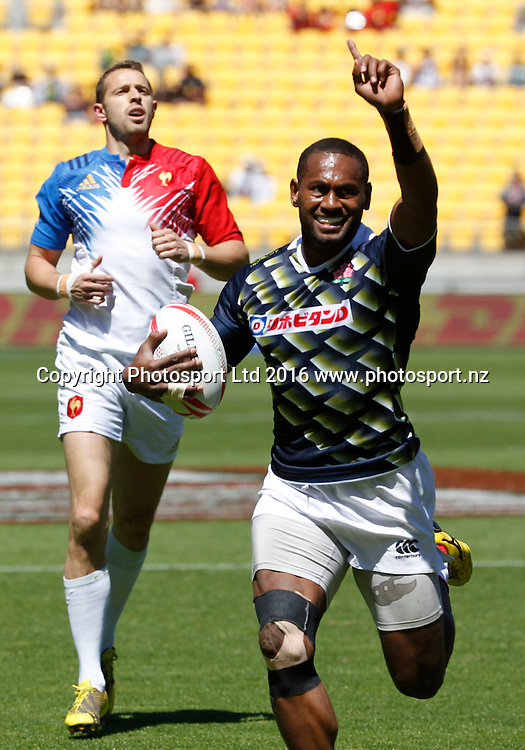Japan's Lote Tuqiri celebrates his winning try against France, Finals Day, HSBC World Sevens Series, Westpac Stadium, Wellington, New Zealand. Sunday, 31 January, 2016. Copyright photo: John Cowpland / www.photosport.nz