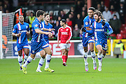 Gillingham's Bradley Dack celebrates the equalising goal for Gillingham, 1-1, during the Sky Bet League 1 match between Swindon Town and Gillingham at the County Ground, Swindon, England on 26 December 2015. Photo by Shane Healey.