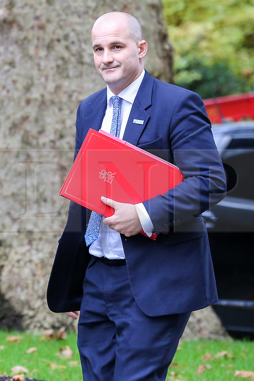 © Licensed to London News Pictures. 16/10/2019. London, UK. Minister of State for The Northern Powerhouse and Local Growth JAKE BERRY arrives in Downing Street to attend the weekly cabinet meeting. This week's cabinet meeting was postponed by one day on Tuesday 15 October amid a final push for a Brexit agreement that can be sealed in time for the European Council summit in Brussels on Thursday and Friday. Photo credit: Dinendra Haria/LNP