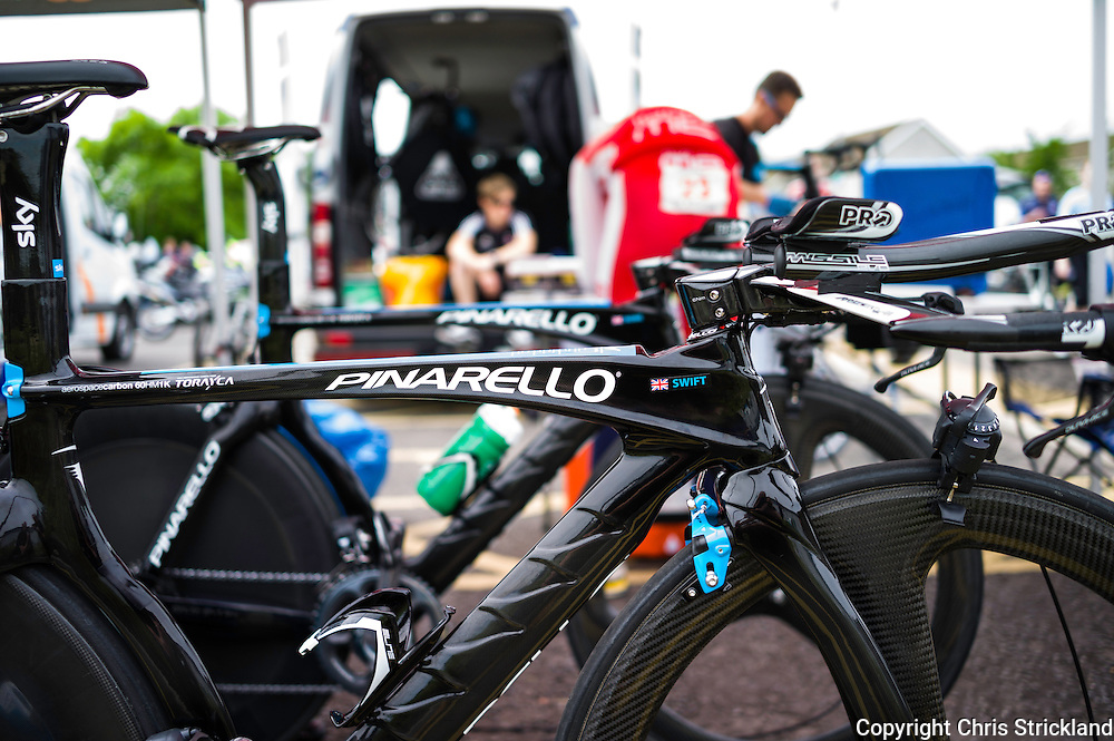 Team Sky cyclist Ben Swift's bike raring to go for the British Cycling National Time Trial Championships.