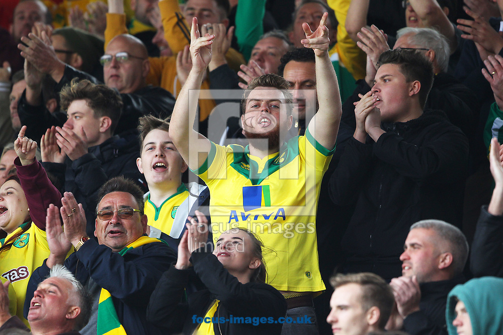 The traveling Norwich fans during the Sky Bet Championship match at Portman Road, Ipswich<br /> Picture by Paul Chesterton/Focus Images Ltd +44 7904 640267<br /> 22/10/2017