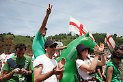 Supporters of Lega Nord (Northern League party) at a meeting in Pontida, Sunday, June 14, 2009. ..