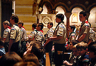 5 FEB. 2012 -- ST. LOUIS  -- Boy Scouts gather during the award presentation during a Scout Sunday prayer service at the Cathedral Basilica of St. Louis led by the Most Rev. Edward F. Rice, Auxiliary Bishop of the Archdiocese of St. Louis, Sunday, Feb. 5, 2012.  Photo © copyright 2012 Sid Hastings.