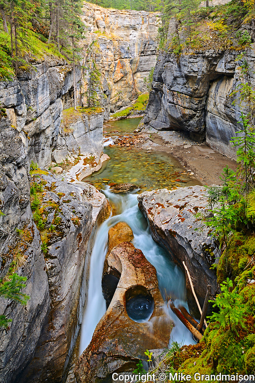 Maligne River  flows down the Maligne Canyon<br /> Jasper National Park<br /> Alberta<br /> Canada