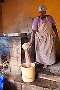 Monica works in the kitchen at Graissa Road Primary School in Thika, Kenya. .Her wages are paid by AFCIC (Action for children in conflict). The majority of the pupils are from the Kiandutu slum. The school has 800 children.