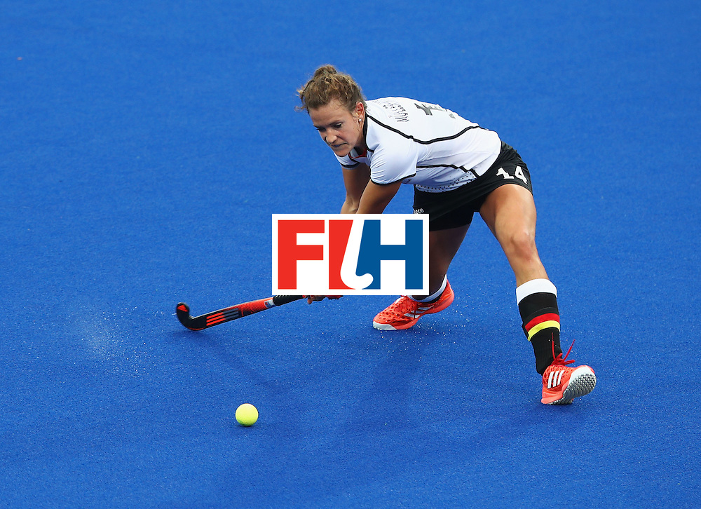 RIO DE JANEIRO, BRAZIL - AUGUST 10:  Janne Muller-Wieland of Germany in action during the Women's Pool B Match between Germany and Korea on Day 5 of the Rio 2016 Olympic Games at the Olympic Hockey Centre on August 10, 2016 in Rio de Janeiro, Brazil.  (Photo by Mark Kolbe/Getty Images)