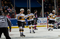 KELOWNA, CANADA - NOVEMBER 3: Caiden Daley #11 and Braden Schneider #2 of the Brandon Wheat Kings celebrate a second period goal against the Kelowna Rockets  on November 3, 2018 at Prospera Place in Kelowna, British Columbia, Canada.  (Photo by Marissa Baecker/Shoot the Breeze)