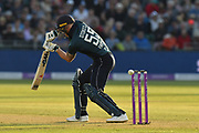 Ben Stokes of England edges the ball during the third Royal London One Day International match between England and Pakistan at the Bristol County Ground, Bristol, United Kingdom on 14 May 2019.