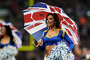 LA Rams cheerleaders during the International Series match between Los Angeles Rams and Cincinnati Bengals at Wembley Stadium, London, England on 27 October 2019.
