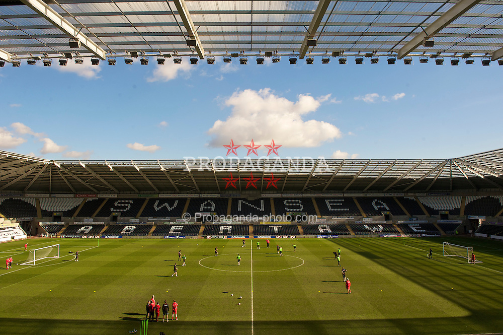 SWANSEA, WALES - Monday, March 1, 2010: Wales' players during training at the Liberty Stadium ahead of the international friendly match against Sweden. (Photo by David Rawcliffe/Propaganda)