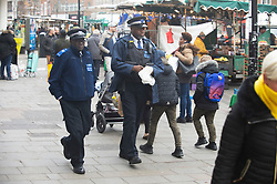 © Licensed to London News Pictures. 14/01/2019. Lewisham, UK.Police on patrol after stabbing. A teenage boy has been stabbed this morning on Lewisham High Street, South East London outside Lewisham Shopping Centre, East Mall entrance. Market stall holders came to the boys aid.Photo credit: Grant Falvey/LNP