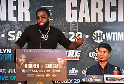 June 20, 2017 - Los Angeles, California, U.S - Adrien Broner during a press conference to promote their  boxing match - Adrien Broner and Mikey Garcia super  lightweight showdown - held on Tuesday, June 20th, 2017,  at The Conga Room in Los Angeles, California. JAVIER  ROJAS/PI (Credit Image: © Prensa Internacional via ZUMA Wire)