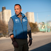 November 6, 2012 - Brooklyn, NY : Pictured here, WCS Vice President and Director of the New York Aquarium, Jon Forrest Dohlin, poses for a portrait on the boardwalk at Coney Island on Tuesday afternoon. The storm surge from Superstorm Sandy innundated much of the Aquarium's grounds, killing fish and wreaking havoc on the property's infrastructure. CREDIT: Karsten Moran for The New York Times