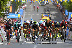 June 5, 2018 - Belleville, France - BELLEVILLE, FRANCE - JUNE 5 : ACKERMANN Pascal (GER)  of Bora - Hansgrohe - BOASSON HAGEN Edvald of Dimension Data, NAESEN Oliver (BEL)  of AG2R La Mondiale during stage 2 of the 70th edition of the Criterium du Dauphine Libere cycling race, a stage of 181 kms between Montbrison and Belleville on June 05, 2018 in Belleville, France, 5/06/2018 (Credit Image: © Panoramic via ZUMA Press)