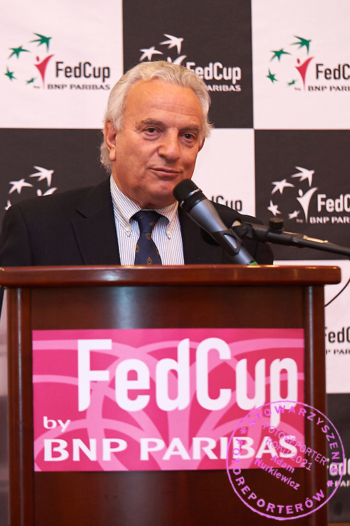 Francesco Ricci Bitti from Italy - President of International Tennis Federation speaks during official dinner two days before the Fed Cup / World Group 1st round tennis match between Poland and Russia at Holiday Inn on February 5, 2015 in Cracow, Poland.<br /> <br /> Poland, Cracow, February 5, 2015<br /> <br /> Picture also available in RAW (NEF) or TIFF format on special request.<br /> <br /> For editorial use only. Any commercial or promotional use requires permission.<br /> <br /> Adam Nurkiewicz declares that he has no rights to the image of people at the photographs of his authorship.<br /> <br /> Mandatory credit:<br /> Photo by &copy; Adam Nurkiewicz / Mediasport