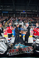 KELOWNA, CANADA - JANUARY 10: Kelowna Rockets President and General Manager, Bruce Hamilton is honored with Madison Bowey #4 and Josh Morrissey #27 of Kelowna Rockets during a celebration of Team Canada gold at the World Junior Hockey Championship on January 10, 2015 at Prospera Place in Kelowna, British Columbia, Canada.  (Photo by Marissa Baecker/Shoot the Breeze)  *** Local Caption *** Bruce Hamilton; Madison Bowey; Josh Morrissey;