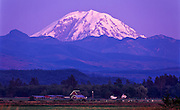 View of Mt. Rainier at sunset, King county, near Enumclaw, Washington