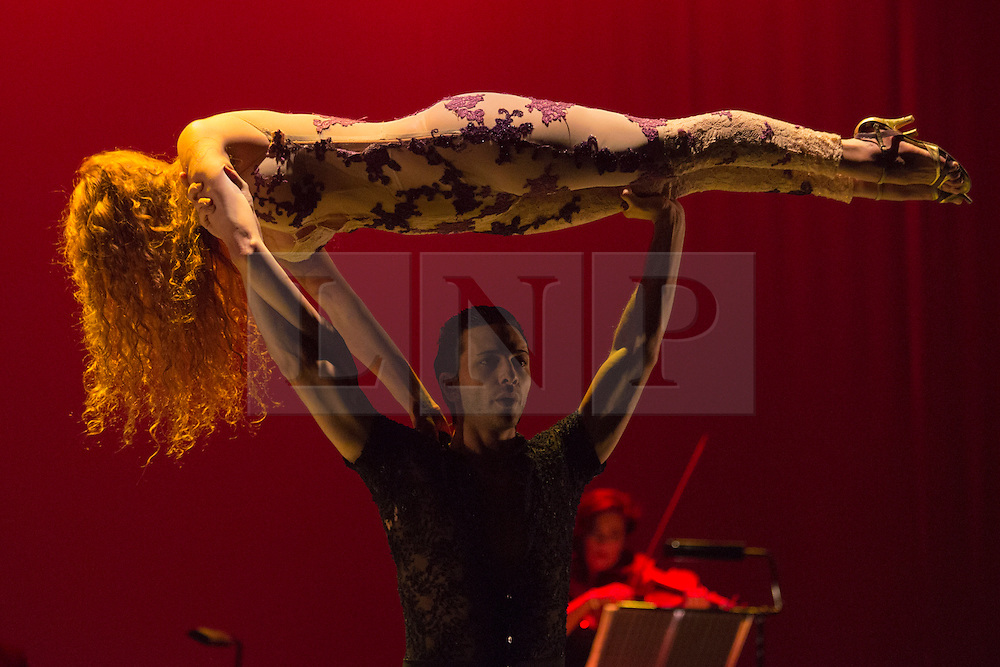 © Licensed to London News Pictures. 26/01/2015. London, England. Sebastian Alvarez and Victoria Saudelli performing. Argentina's dance company Tango Fire returns to the Peacock Theatre, London, with their show Flames of Desire from 27 January to 14 February 2015. Photo credit: Bettina Strenske/LNP