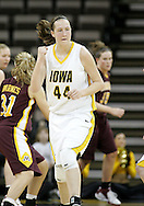 25 JANUARY 2007: Iowa center Megan Skouby (44) pumps her first after a score in Iowa's 80-78 overtime loss to Minnesota at Carver-Hawkeye Arena in Iowa City, Iowa on January 25, 2007.