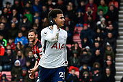 Goal - Dele Alli (20) of Tottenham Hotspur celebrates scoring a goal to make the score 1-1 during the Premier League match between Bournemouth and Tottenham Hotspur at the Vitality Stadium, Bournemouth, England on 11 March 2018. Picture by Graham Hunt.