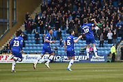 Gillingham forward Cody MacDonald celebrates at the Rainham End during the Sky Bet League 1 match between Gillingham and Shrewsbury Town at the MEMS Priestfield Stadium, Gillingham, England on 23 April 2016. Photo by Martin Cole.