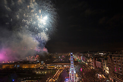 Fireworks from the castle esplanade at midnight, Edinburgh's Hogmanay Street Party, Sunday 31st December.