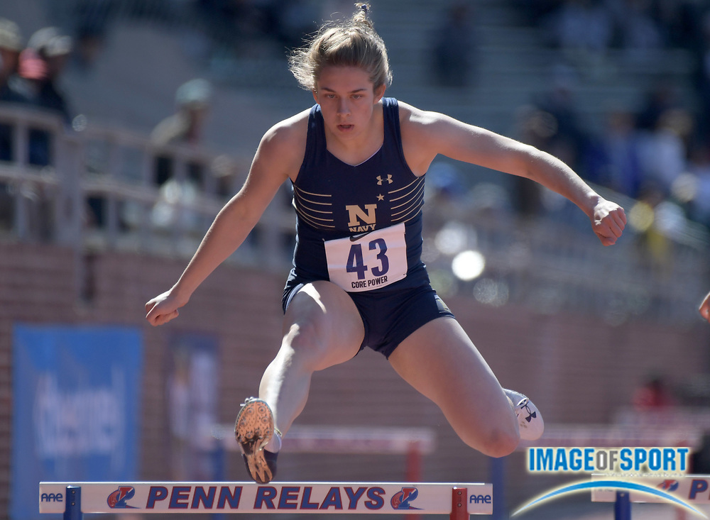 Apr 26, 2018; Philadelphia, PA, USA; Brittany Burg of Navy wins a women's 400m hurdles heat in 59.98 during the 124th Penn Relays at Franklin Field.