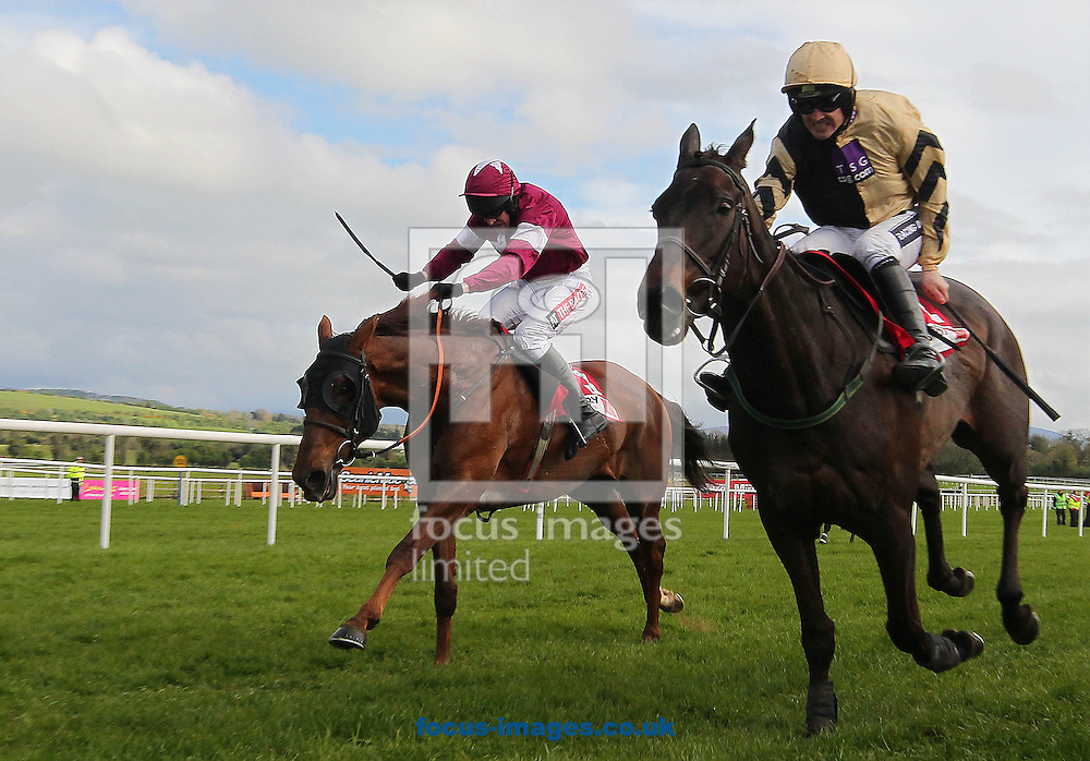 Ruby Walsh on Boston Bob wins the Punchestown Gold Cup from BArry Geraghty on First Lieutenant at the Punchestown Festival, Punchestown Racecourse, Kildare.<br /> Picture by Lorraine O'Sullivan/Focus Images Ltd +353 872341584<br /> 30/04/2014