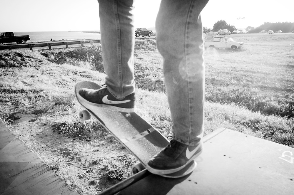 Skateboarding near the ocean in Half Moon Bay, California.