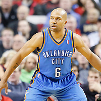 04 December 2013: Oklahoma City Thunder point guard Derek Fisher (6) is seen on defense during the Portland Trail Blazers 111-104 victory over the Oklahoma City Thunder at the Moda Center, Portland, Oregon, USA.