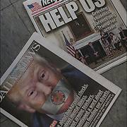 Daily News headline &quot; He spoke about background checks;  He spoke about mental illness. He spoke about arming teachers. But he never mentioned a word about the 300 million guns flooding our streets. Wonder why? - NRA&quot; &quot;coverage of Trump's sit down with shooting victims kin&quot;<br />