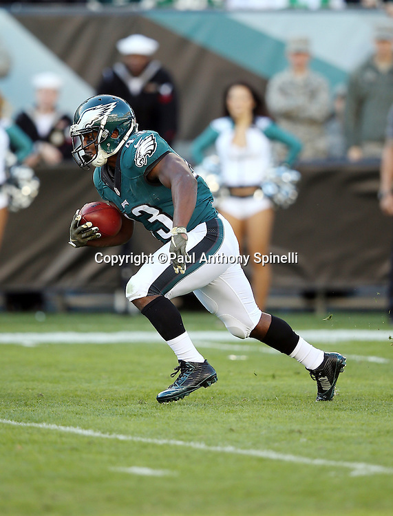 Philadelphia Eagles running back Darren Sproles (43) returns a second quarter punt to the Eagles 30 yard line during the 2015 week 10 regular season NFL football game against the Miami Dolphins on Sunday, Nov. 15, 2015 in Philadelphia. The Dolphins won the game 20-19. (©Paul Anthony Spinelli)