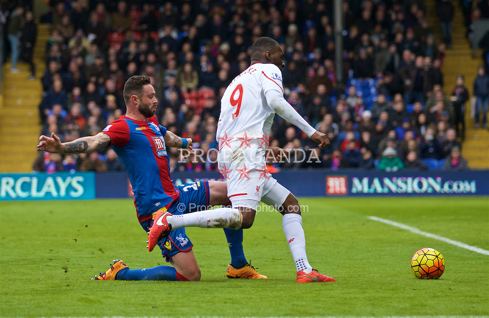 LONDON, ENGLAND - Sunday, March 6, 2016: Liverpool's Christian Benteke is brought down by Crystal Palace's Damien Delaney for an injury time penalty during the Premier League match at Selhurst Park. (Pic by David Rawcliffe/Propaganda)