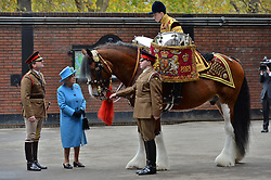 © Licensed to London News Pictures. 24/10/2017. London, UK. Queen Elizabeth II and The Prince of Wales will visit the Household Cavalry Mounted Regiment at Hyde Park Barracks. Photo credit: Ray Tang/LNP